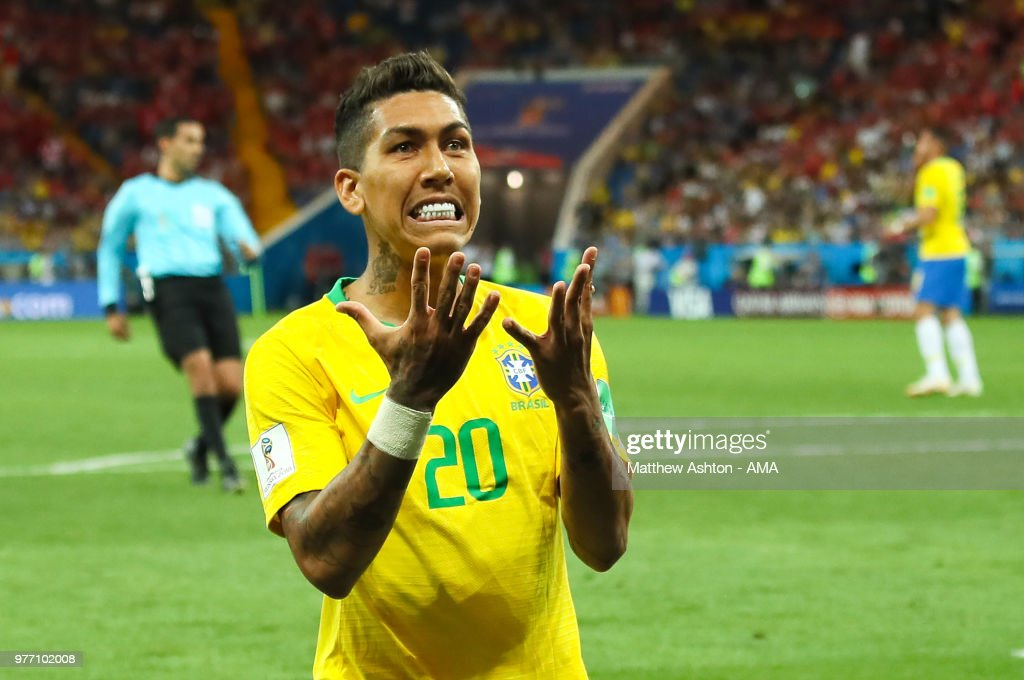 Roberto Firmino of Brazil reacts to a missed chance during the 2018 FIFA World Cup Russia group E match between Brazil and Switzerland at Rostov Arena on June 17, 2018 in Rostov-on-Don, Russia.