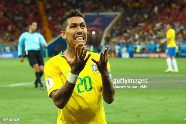Roberto Firmino of Brazil reacts to a missed chance during the 2018 FIFA World Cup Russia group E match between Brazil and Switzerland at Rostov...