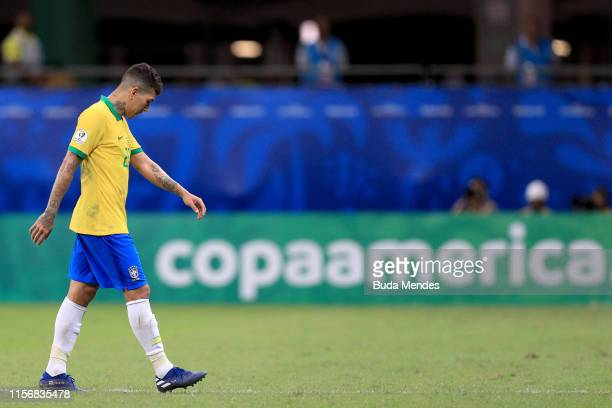 Roberto Firmino of Brazil reacts to the draw after the Copa America Brazil 2019 group A match between Brazil and Venezuela at Arena Fonte Nova on...
