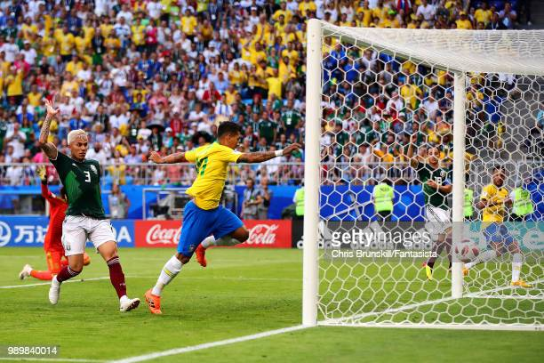 Roberto Firmino of Brazil scores his side's second goal during the 2018 FIFA World Cup Russia Round of 16 match between 1st Group E and 2nd Group F...