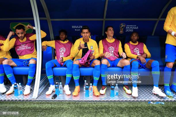 Roberto Firmino of Brazil signals as he starts as a substitute ahead of the 2018 FIFA World Cup Russia Group E match between Brazil and Costa Rica at...