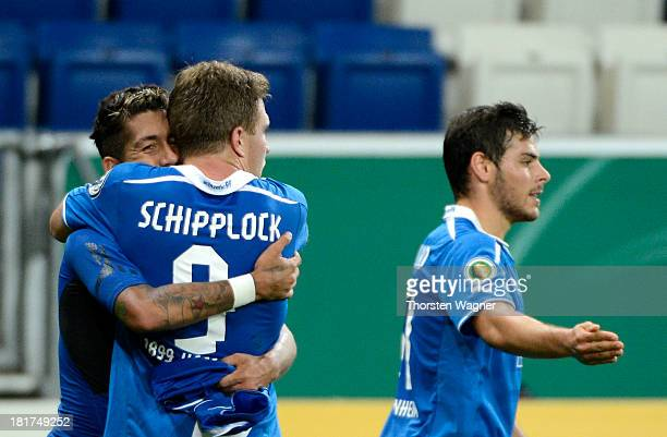 Roberto Firmino of Hoffenheim celebrates after scoring his teams second goal during the DFB Cup second round match between TSG 1899 Hoffenheim and FC...