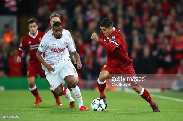Roberto Firmino of Liverpool and Fernando of Spartak Moskva during the UEFA Champions League group E match between Liverpool FC and Spartak Moskva at...