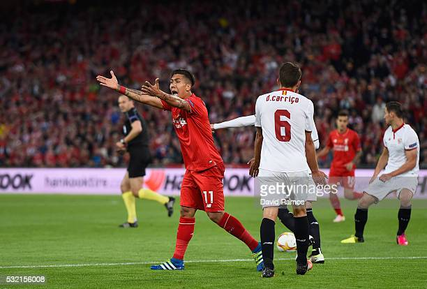 Roberto Firmino of Liverpool appeals during the UEFA Europa League Final match between Liverpool and Sevilla at St JakobPark on May 18 2016 in Basel...