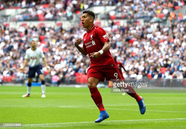 Roberto Firmino of Liverpool appelas to the assistant referee after his goal was rulled for offside during the Premier League match between Tottenham...