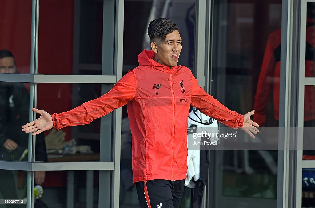 Roberto Firmino of Liverpool at Melwood Training Ground on December 20, 2016 in Liverpool, England.