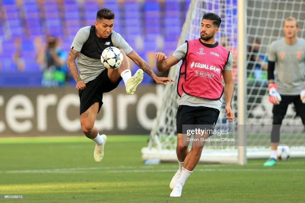 Roberto Firmino of Liverpool battles with Emre Can of Liverpool during a training session ahead of the UEFA Champions League Final between Real Madrid and Liverpool on May 25, 2018 in Kiev, Ukraine.