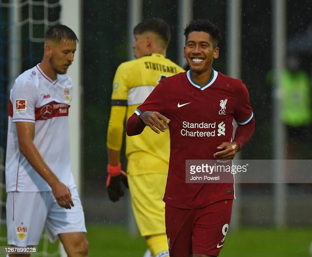 Roberto Firmino of Liverpool celabrates scoring the first goal during the pre-season friendly match between Liverpool and VfB Stuttgart at Saalfelden...