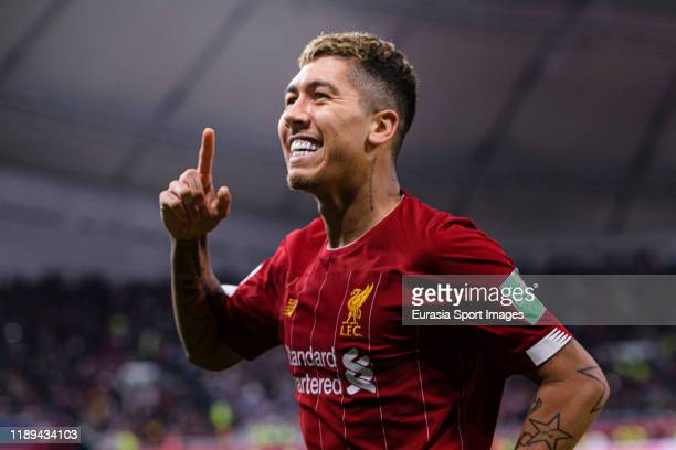 Roberto Firmino of Liverpool celebrates a goal during FIFA Club World Cup SemiFinal match between Monterrey and Liverpool FC at Education City...