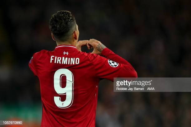 Roberto Firmino of Liverpool celebrates after scoring a goal to make it 10 during the Group C match of the UEFA Champions League between Liverpool...