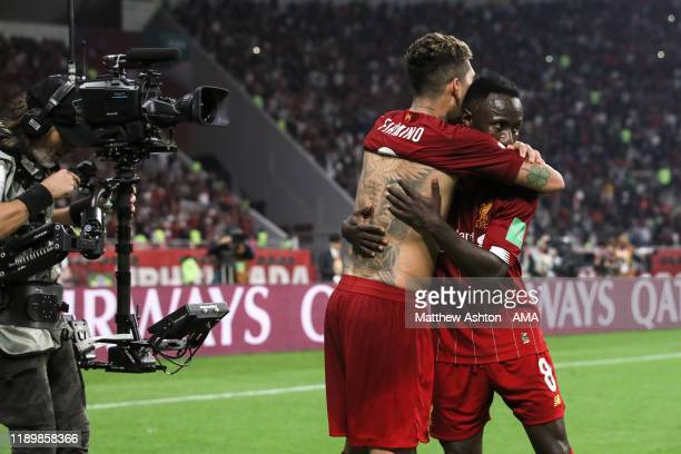 Roberto Firmino of Liverpool celebrates after scoring a goal to make it 10 during the FIFA Club World Cup Qatar 2019 Final match between Liverpool FC...