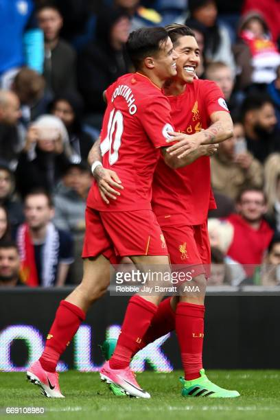 Roberto Firmino of Liverpool celebrates after scoring a goal to make it 01 during the Premier League match between West Bromwich Albion and Liverpool...