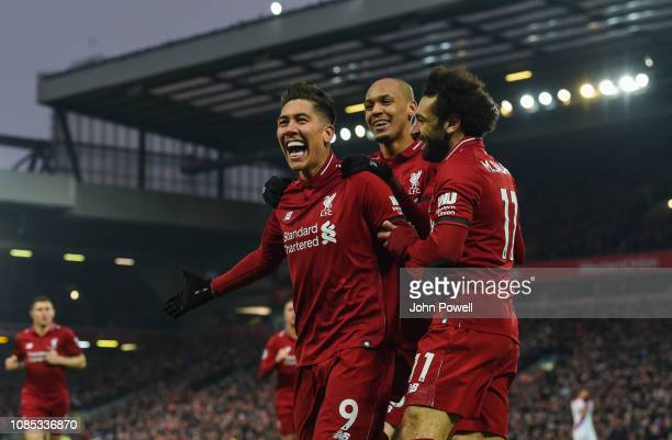 Roberto Firmino of Liverpool celebrates after scoring during the Premier League match between Liverpool FC and Crystal Palace at Anfield on January...