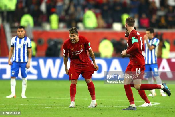 Roberto Firmino of Liverpool celebrates after scoring his team's second goal during the FIFA Club World Cup semifinal match between Monterrey and...
