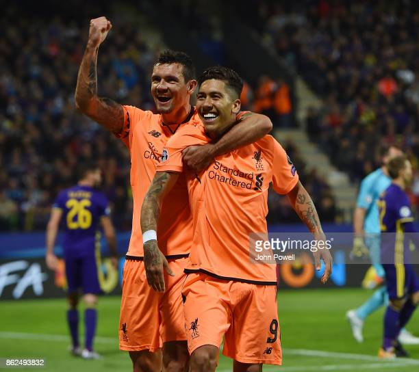 Roberto Firmino of Liverpool celebrates after scoring the fifth goal during the UEFA Champions League group E match between NK Maribor and Liverpool...
