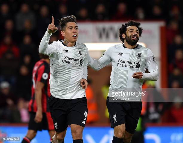 Roberto Firmino of Liverpool celebrates after scoring the fourth goal during the Premier League match between AFC Bournemouth and Liverpool at...
