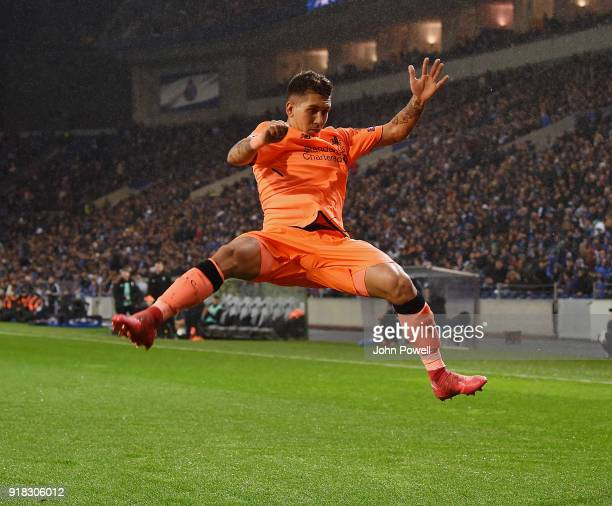 Roberto Firmino of Liverpool celebrates after scoring the fourth goal during the UEFA Champions League Round of 16 First Leg match between FC Porto...