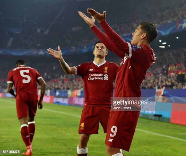 Roberto Firmino of Liverpool celebrates after scoring the opening goal during the UEFA Champions League group E match between Sevilla FC and...