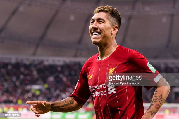 Roberto Firmino of Liverpool celebrates after scoring the second goal of his team during FIFA Club World Cup SemiFinal match between Monterrey and...