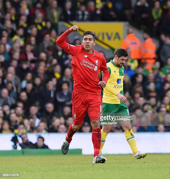 Roberto Firmino of Liverpool celebrates after scoring the third and equalising goal during the Barclays Premier League match between Norwich City and...