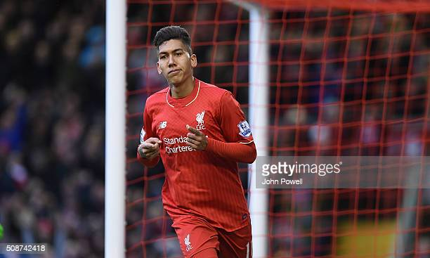 Roberto Firmino of Liverpool celebrates his goal during the Barclays Premier League match between Liverpool and Sunderland at Anfield on February 6...