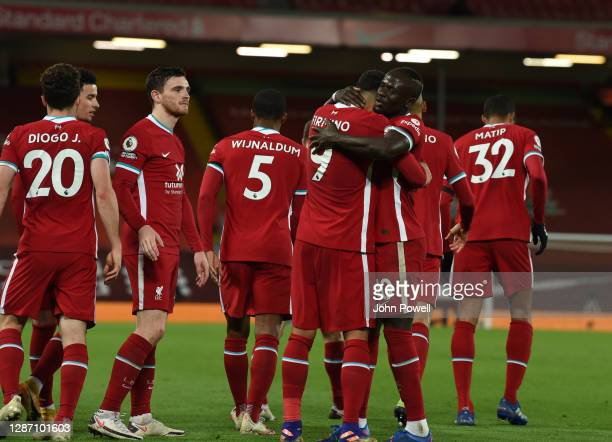 Roberto Firmino of Liverpool celebrates his goal during the Premier League match between Liverpool and Leicester City at Anfield on November 22, 2020...