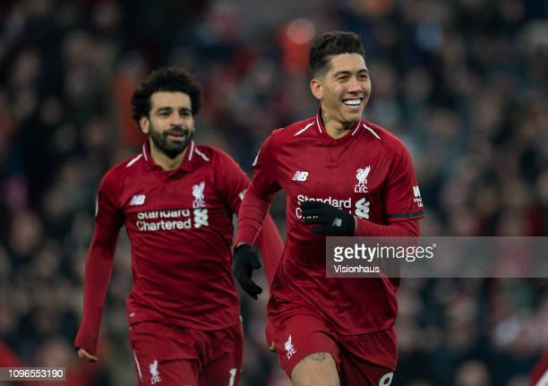Roberto Firmino of Liverpool celebrates scopring during the Premier League match between Liverpool FC and Crystal Palace at Anfield on January 19...
