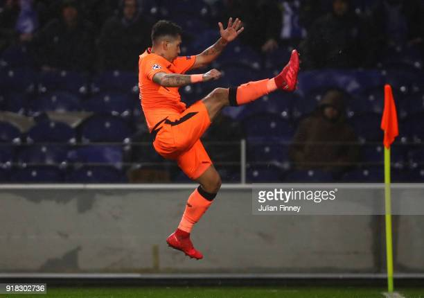 Roberto Firmino of Liverpool celebrates scoring the fourth goal during the UEFA Champions League Round of 16 First Leg match between FC Porto and...