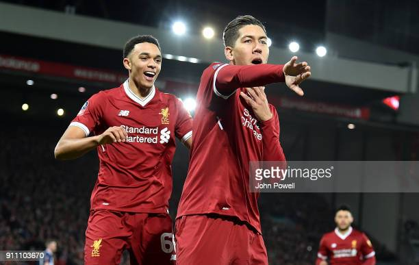 Roberto Firmino of Liverpool celebrates scoring the opening goal with Trent AnexanderArnold of Liverpool during The Emirates FA Cup Fourth Round...