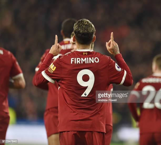 Roberto Firmino of Liverpool Celebrates Scoring The Second during the Premier League match between Huddersfield Town and Liverpool at John Smith's...