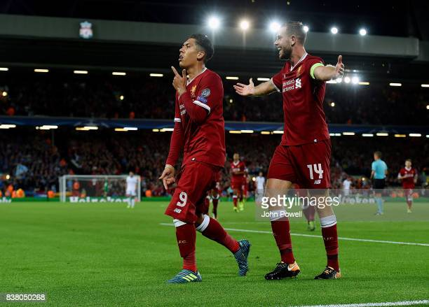 Roberto Firmino of Liverpool celebrates the after scoring the forth goal during the UEFA Champions League Qualifying PlayOffs round second leg match...