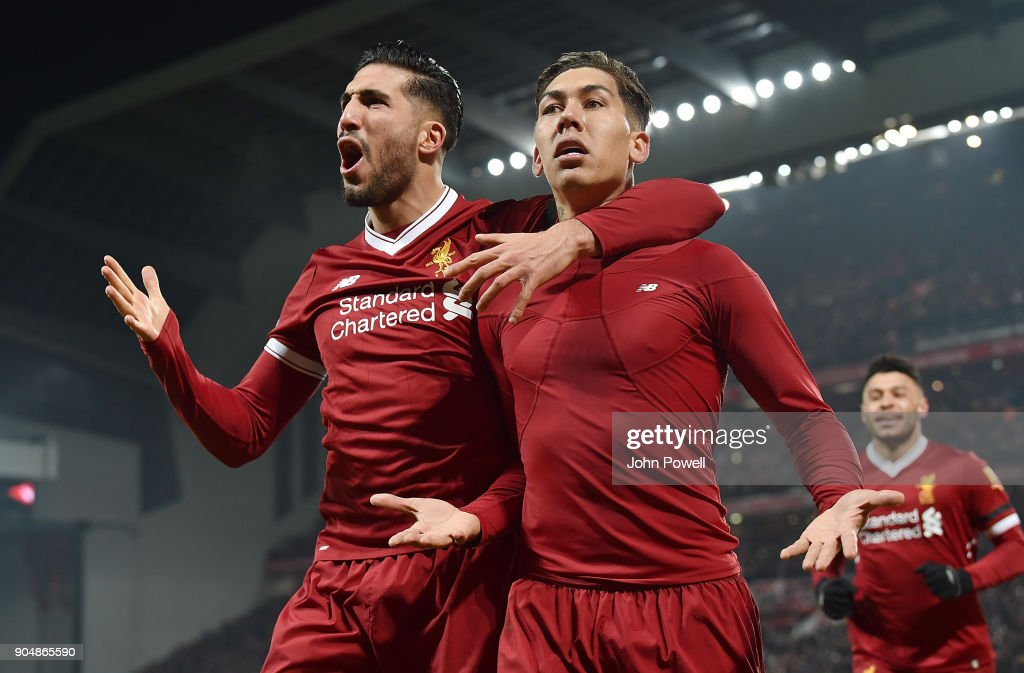 Roberto Firmino of Liverpool Celebrates the Second Goal during the Premier League match between Liverpool and Manchester City at Anfield on January 14, 2018 in Liverpool, England.