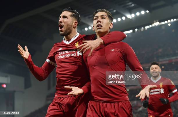 Roberto Firmino of Liverpool Celebrates the Second Goal during the Premier League match between Liverpool and Manchester City at Anfield on January...