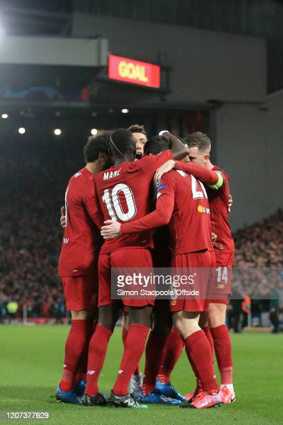 Roberto Firmino of Liverpool celebrates their 1st goal during the UEFA Champions League round of 16 second leg match between Liverpool FC and...