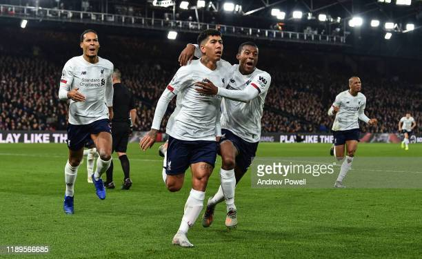 Roberto Firmino of Liverpool celebrating after scoring the winning goal during the Premier League match between Crystal Palace and Liverpool FC at...