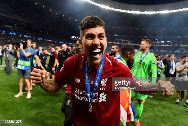 Roberto Firmino of Liverpool celebrating at the end of the UEFA Champions League Final between Tottenham Hotspur and Liverpool at Estadio Wanda...
