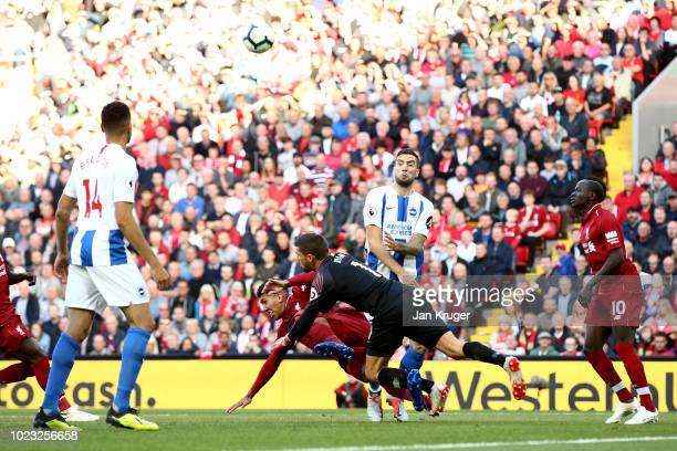 Roberto Firmino of Liverpool clashes with Mathew Ryan of Brighton and Hove Albion during the Premier League match between Liverpool FC and Brighton...