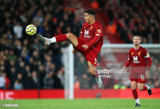 Roberto Firmino of Liverpool controls the ball during the Premier League match between Liverpool FC and Tottenham Hotspur at Anfield on October 27...