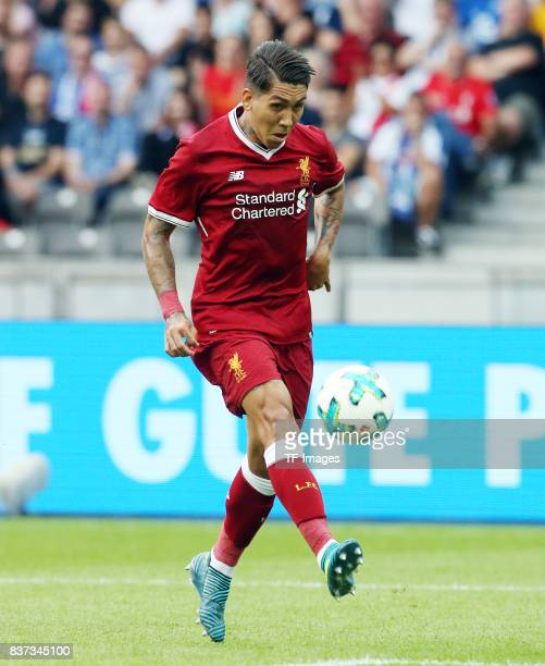 Roberto Firmino of Liverpool controls the ball during the Preseason Friendly match between Hertha BSC and FC Liverpool at Olympiastadion on July 29...