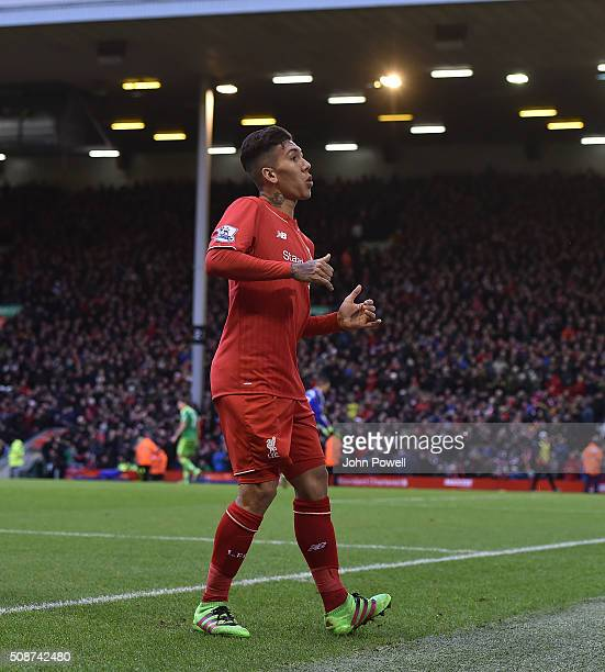 Roberto Firmino of Liverpool does a dance to celebrate his goal during the Barclays Premier League match between Liverpool and Sunderland at Anfield...