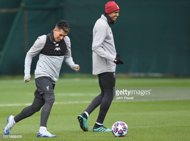 Roberto Firmino of Liverpool during a training session at Melwood on March 10 2020 in Liverpool United Kingdom Liverpool FC will face Atletico Madrid...