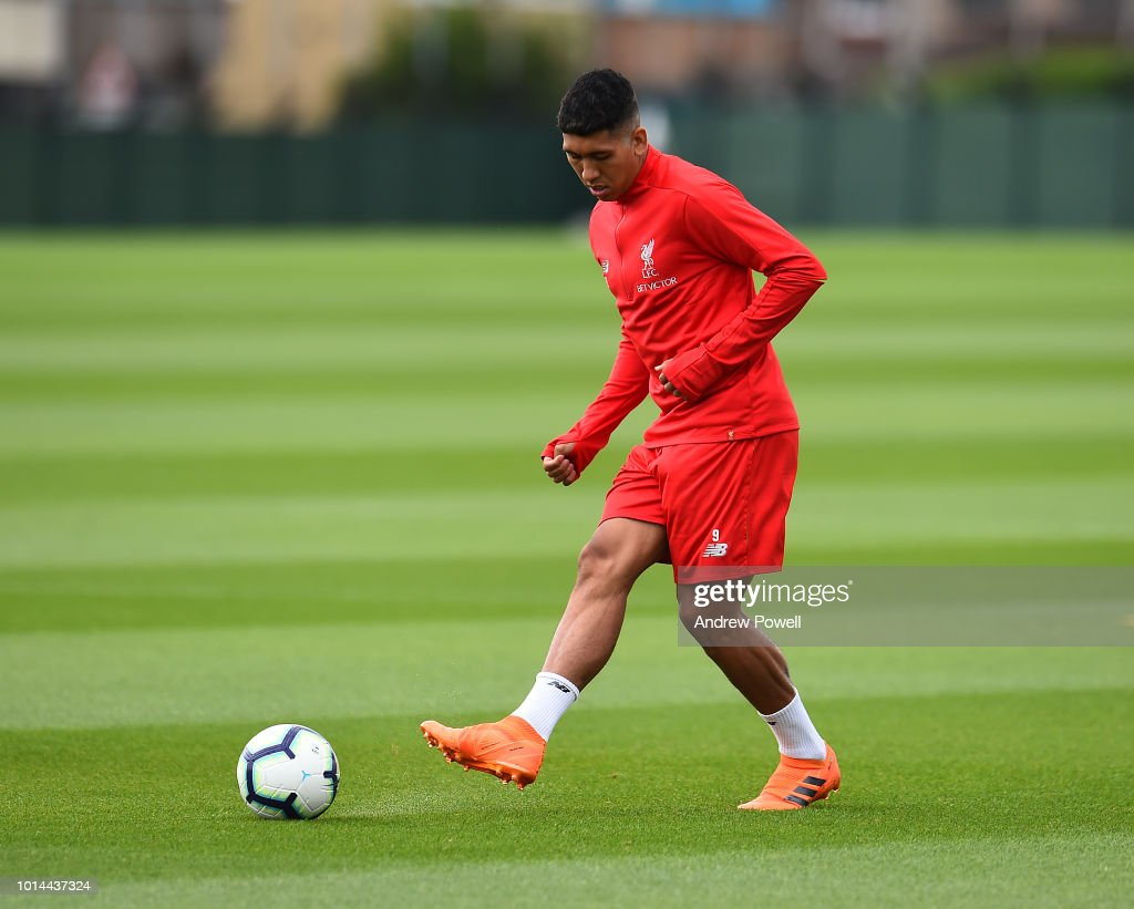 Roberto Firmino of Liverpool during a training session at Melwood Training Ground on August 10, 2018 in Liverpool, England.