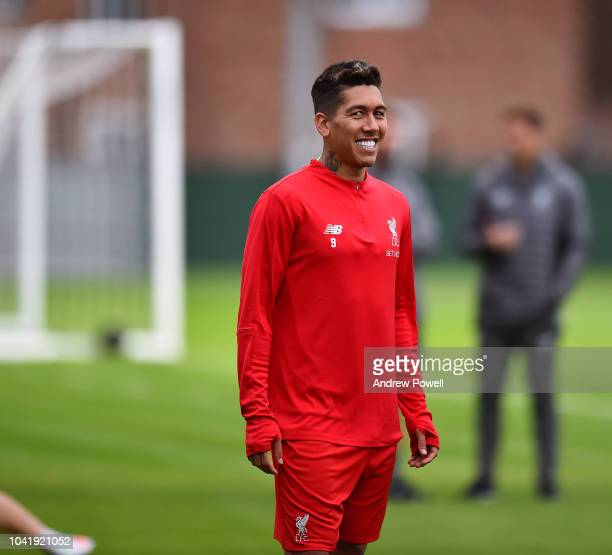 Roberto Firmino of Liverpool during a training session at Melwood Training Ground on September 27 2018 in Liverpool England