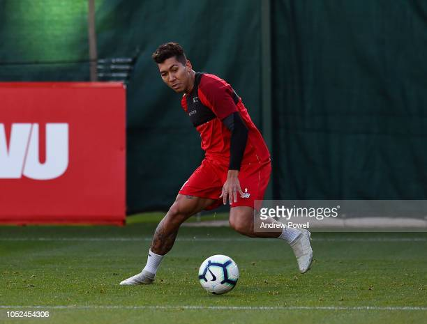 Roberto Firmino of Liverpool during a training session at Melwood Training Ground on October 18 2018 in Liverpool England