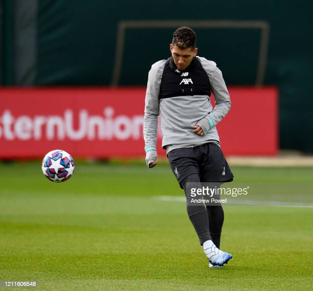 Roberto Firmino of Liverpool during a training session at Melwood training ground on March 10 2020 in Liverpool United Kingdom Liverpool FC will face...
