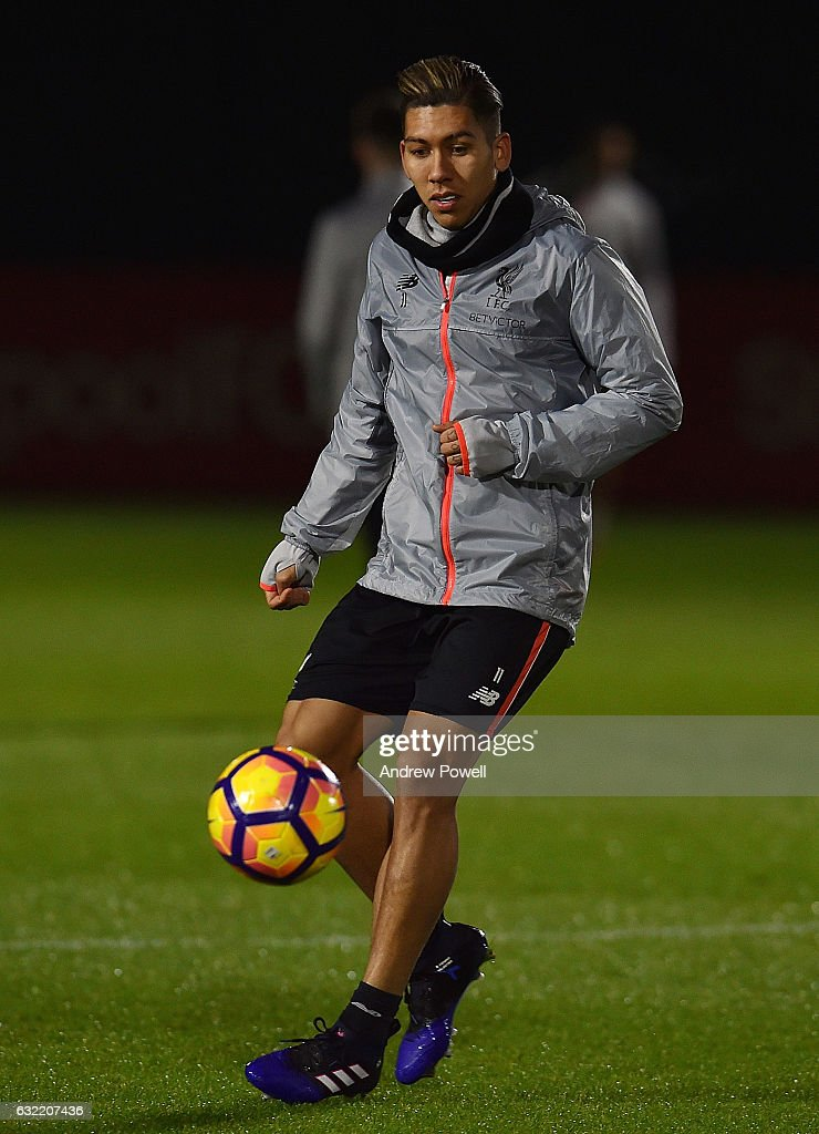 Roberto Firmino of Liverpool during a training session at Melwood Training Ground on January 20, 2017 in Liverpool, England.