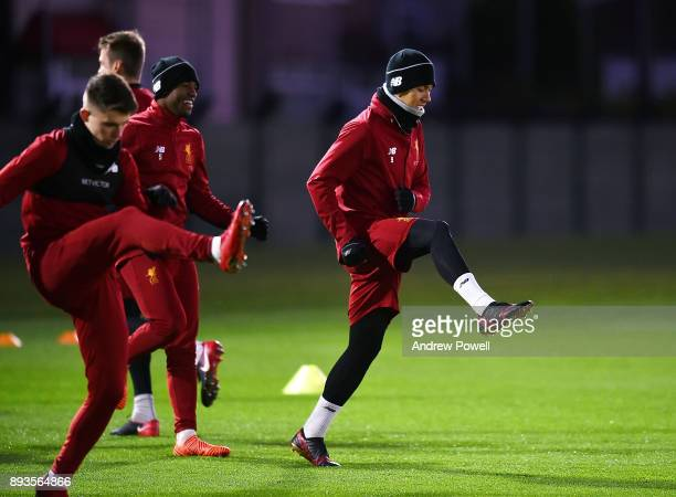 Roberto Firmino of Liverpool during a training session at Melwood Training Ground on December 15 2017 in Liverpool England