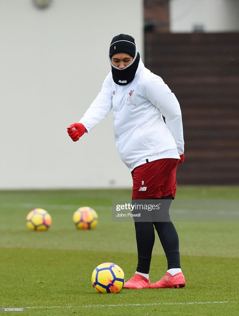 Roberto Firmino of Liverpool during a training session at Melwood Training Ground on March 1, 2018 in Liverpool, England.