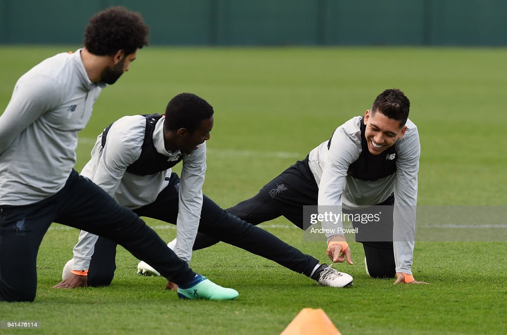 Roberto Firmino of Liverpool during a training session at Melwood Training Ground on April 3, 2018 in Liverpool, England.