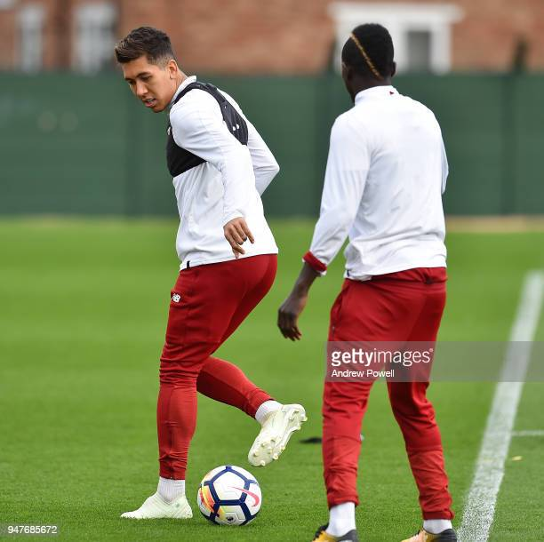 Roberto Firmino of Liverpool during a training session at Melwood Training Ground on April 17 2018 in Liverpool England